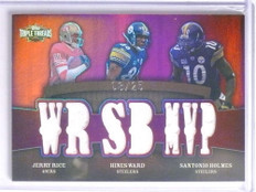 2009 Topps Triple Threads Jerry Rice Hines Ward & Holmes jersey #D08/25 *67797