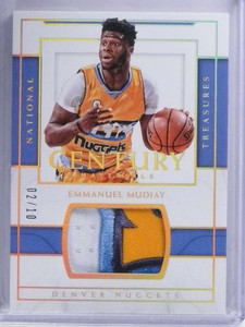 2016-17 National Treasures Century Emmanuel Mudiay 3 color patch #D02/10 *68645
