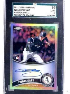2011 Topps Chrome Refractor Chris Sale autograph auto rc #D274/499 SGC 96 *68824