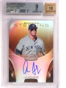 2013 Bowman Sterling Orange Refractor Aaron Judge autograph rc /75 BGS 9 *69197