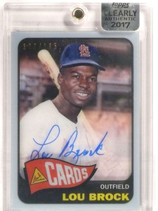 2017 Topps Clearly Authentic Rookie Reprint Lou Brock autograph auto /135 *69250