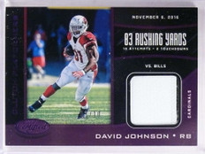 2017 Panini Certified Clutch Performers David Johnson 2clr patch #d01/10 *69334