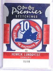 2008-09 Upper Deck O-Pee-Chee Premier Stitchings Henrik Lundqvist #D76/99 *69502