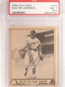 1940 Playball Walter Johnson #120 PSA 7 OC NM *69579