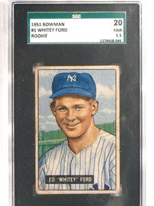 1951 Bowman Whitey Ford rc rookie #1 SGC 20 = 1.5 Fair *69593