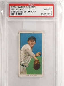1909 T206 Hal Chase Throwing Cap Dark PSA 4 VG-EX *69595