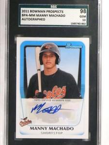 2011 Bowman Prospects Manny Machado autograph auto rc rookie SGC 98 *69597
