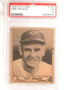 1940 Play Ball Tris Speaker #170 PSA 5 EX *69617