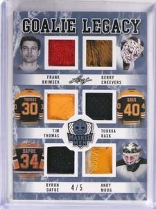 2017 Leaf Masked Men Goalie Legacy Cheevers Rask Moog Brimsek jersey /5 *69744 ID: 16739