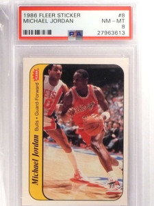 1986-87 Fleer Sticker Michael Jordan rookie #8 PSA 8 NM-MT BULLS *69929