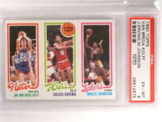 1980-81 Topps Julius Erving Magic Johnson Kolff rookie PSA 6 *69949