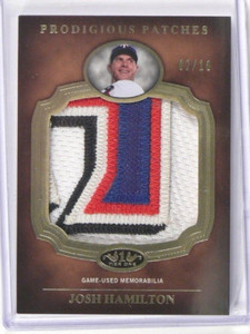 2012 Topps Tier one 1 Josh Hamilton Prodigious Patches 4 clr patch #D02/10 *3751