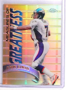 1998 Topps Chrome Measures of Greatness Refractor John Elway #MG1 *70838