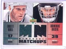 2003-04 Upper Deck Memorable Matchups Brett Hull Dominik Hasek Jersey *70738
