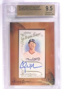 2014 Topps Allen & Ginter Framed Mini Clayton Kershaw autograph BGS 9.5 *70943