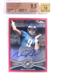 2012 Topps Chrome Pink Refractor Nick Foles autograph rc #D66/75 BGS 9.5 *70936