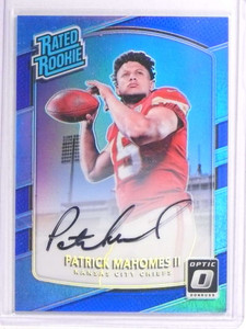 2017 Panini Optic Blue Rated Rookie Patrick Mahomes autograph rc #D40/75 *70978