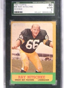 1963 Topps Ray Nitschke rc rookie #96 SGC 80 = 6 Packers *70944