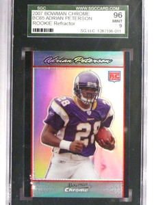 2007 Bowman Chrome Refractor Adrian Peterson rc rookie #BC65 SGC 96 *70955