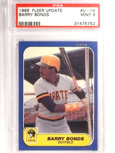 1986 Fleer Update Barry Bonds Rookie RC PSA 9 MINT #U14 *71402