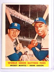 1958 Topps World Series Batting Foes Mickey Mantle Hank Aaron #418 VG *71348