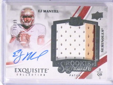 2013 Upper Deck Exquisite EJ Manuel autograph auto 3clr patch rc #D75/99 *71149