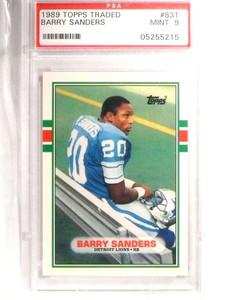 1989 Topps Traded Barry Sanders Rookie RC #83T PSA 9 MINT *71455