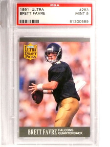 1991 Ultra Brett Favre Rookie RC #283 PSA 9 MINT *71456