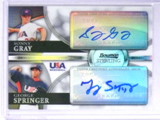 2010 Bowman Sterling USA Sonny Gray George Springer autograph auto /99 *72005