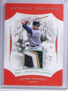 2017 National Treasures League Leaders Manny Ramirez 3 color patch #D4/5 *72025