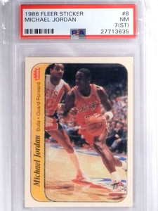 1986-87 Fleer Sticker Michael Jordan rc rookie PSA 7 ST *71871