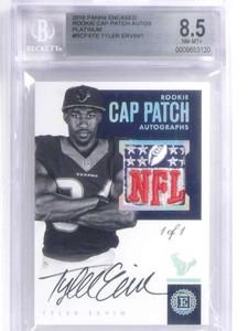 2016 Panini Encased Cap Patch Tyler Ervin autograph rc NFL logo #D 1/1  *71870