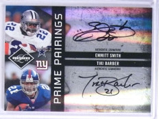 2009 Limited Prime Pairings Emmitt Smith Tiki Barber autograph auto #D6/25 *71904