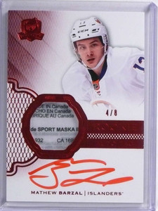 2016-17 UD The Cup Mathew Barzal autograph auto red tag patch rc #D4/8 *71893