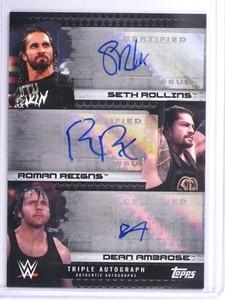 2017 Topps WWE Triple Seth Rollins Roman Reigns Ambrose autograph #/10 *71903