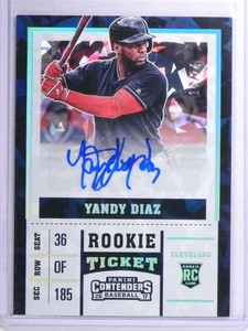 2017 Panini Contenders Cracked Ice Yandy Diaz autograph rc rookie #D18/24 *72116