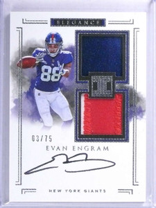 2017 Panini Impeccable Evan Engram autograph helmet patch rc #d03/75 *72055