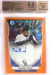 2014 Bowman Chrome Orange Refractor Raimel Tapia auto rc #D01/25 BGS 9.5 *72182