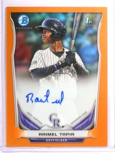 2014 Bowman Chrome Orange Refractor Raimel Tapia autograph auto rc #/25 *72211