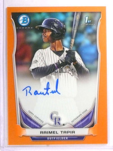 2014 Bowman Chrome Orange Refractor Raimel Tapia autograph auto rc #/25 *72213