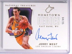 2017-18 National Treasures Hometown Heroes Jerry West autograph #d4/25 *72255