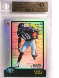 1998 Bowman Chrome Interstate Refractor Randy Moss rc rookie #182 BGS 10 *72180