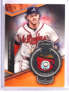 2018 Topps Tribute Stamp Orange Dansby Swanson 3 color patch #D23/25 *72498