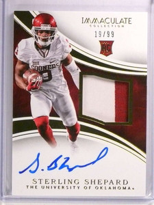 2016 Immaculate Sterling Shepard autograph auto patch rc rookie #D19/99 *72508
