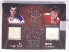 2016 Leaf Enshrined Class of 1987 Ed Giacomin & Bobby Clarke jersey #D25/25 *557