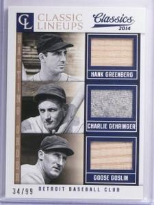 2014 Classics Lineups Greenberg Gehringer Goslin Triple Bat Jersey #D34/99 *6521