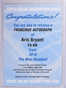 2016 Topps The Mint Franchise Kris Bryant autograph auto #FA-KB *56331
