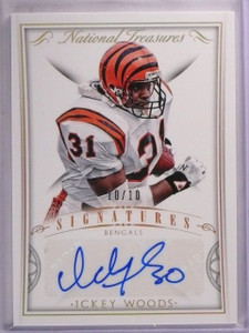 2015 National Treasures Ickey Woods Holo Gold Autograph Auto #D10/10 #SIGIW *553