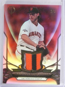 2016 Topps Tribute Red Parallel Madison Bumgarner 3 color patch #D2/5 #mb *56396