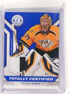 2013-14 Totally Certified Jersey Patch Pekka Rinne #d48/50 Prime Blue *45499